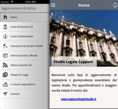 """Screenshot dell'applicazione """"Aggiornamenti di diritto"""" elaborata dallo Studio Legale Capponi"""